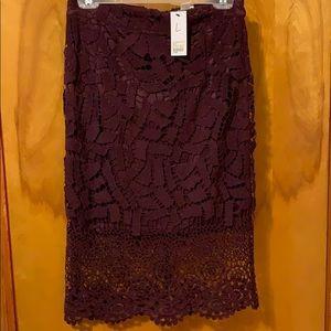 Purple lace pencil skirt
